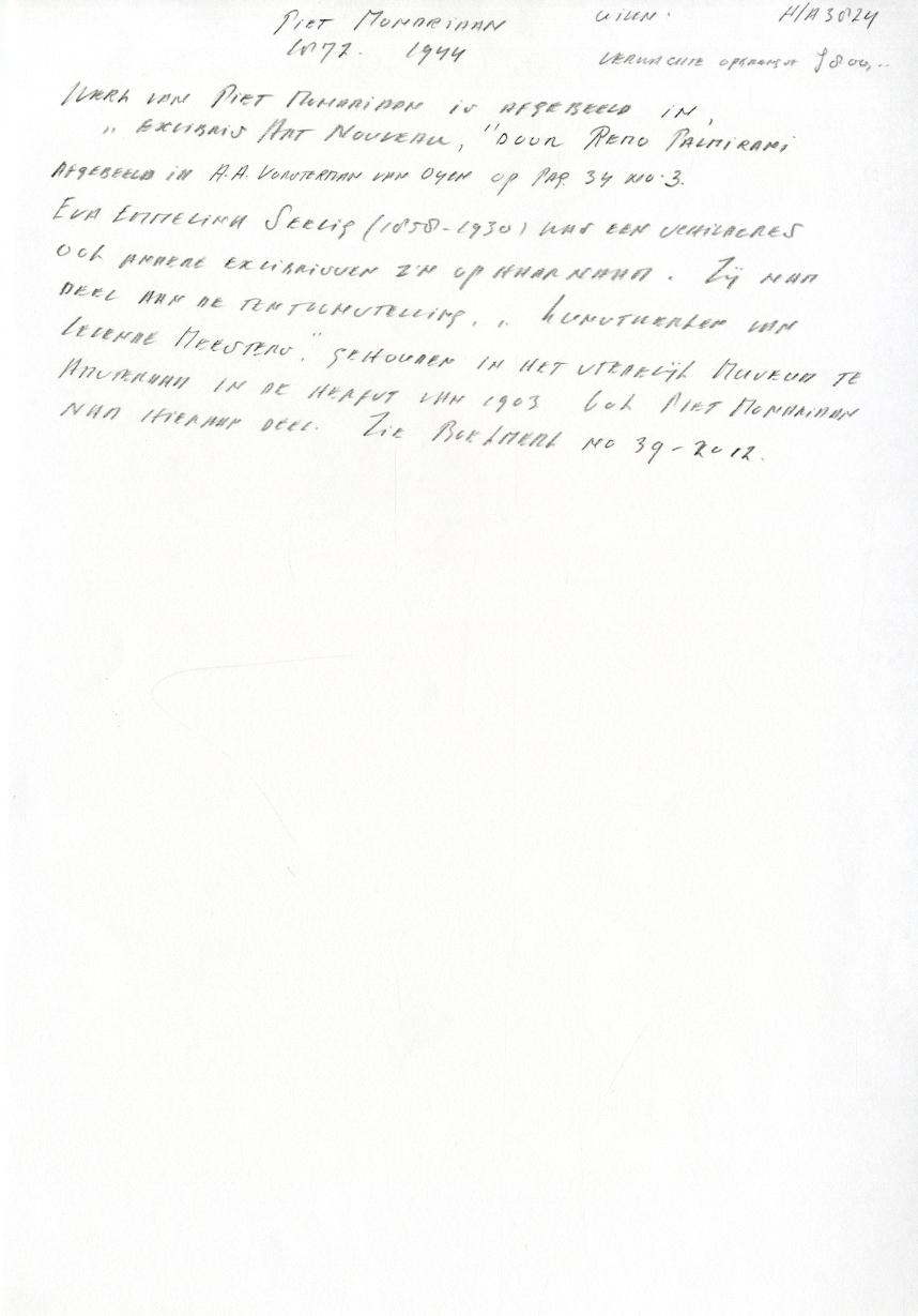 Piet Mondriaan : Ex Libris voor Eva Emmelina Seelig