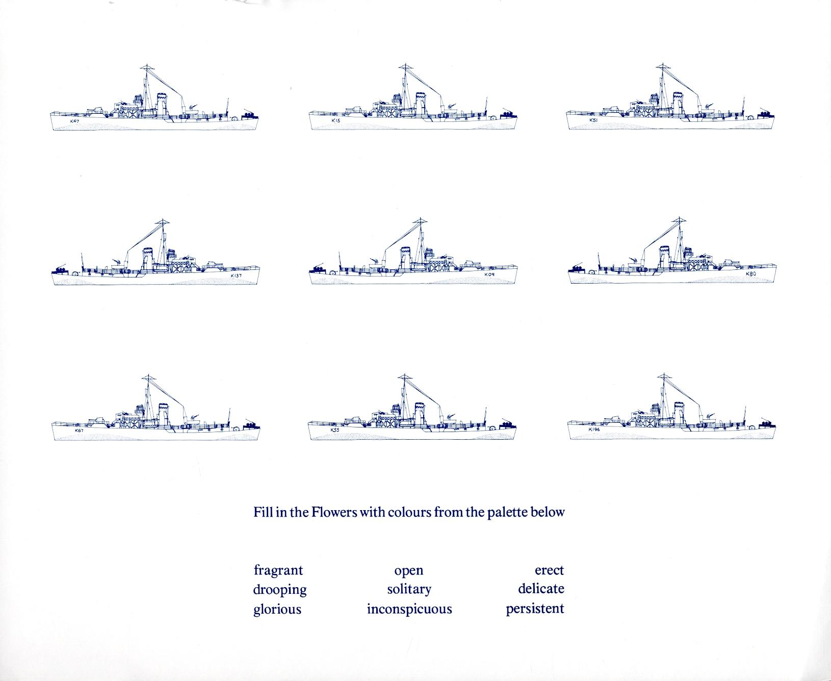 K47, Polyanthus; K15, Heartsease, ex-pansy; K51, Rockrose; K137, Pink; K09, Candytuft; K80, Bluebell; K67, Snowdrop; K55, Periwinkle; K196, Cowslip - Flower Class corvettes